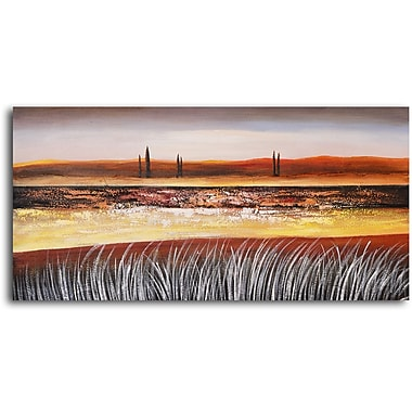 My Art Outlet 'Distant Poplars on Plain' Painting Print on Wrapped Canvas