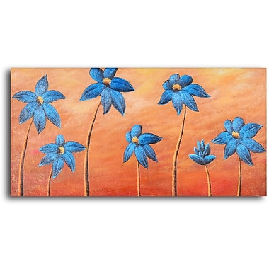 My Art Outlet Dancing Daisies Original Painting on Wrapped Canvas