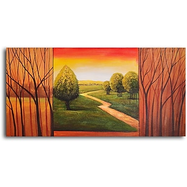 My Art Outlet Verdant View in Sticks Original Painting on Wrapped Canvas