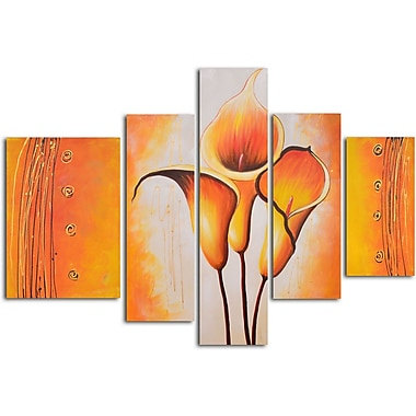 My Art Outlet Cobra Lily Dance 5 Piece Original Painting on Wrapped Canvas Set