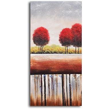 My Art Outlet 'Red Cottonball Trees' Painting Print on Wrapped Canvas