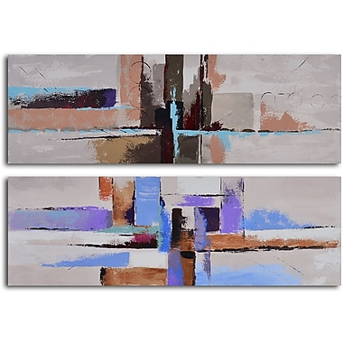 My Art Outlet Urbanization Abstraction 2 Piece Original Painting on Wrapped Canvas Set
