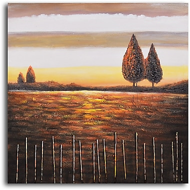My Art Outlet 'Beyond the Stick Fence' Painting Print on Wrapped Canvas