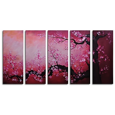 My Art Outlet Cochineal Black Trunked Cherry 5 Piece Painting Print on Wrapped Canvas Set