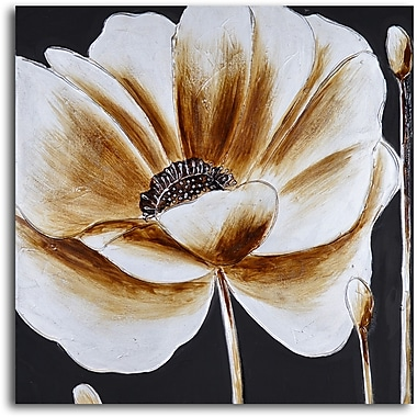 My Art Outlet Coffee and White Poppy' Painting on Wrapped Canvas