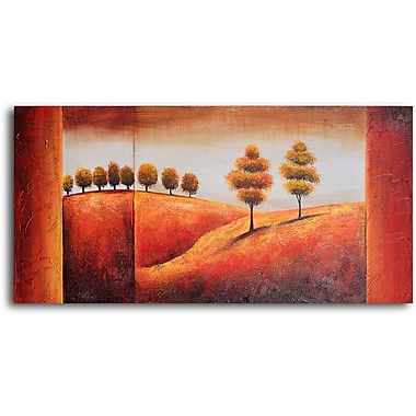 My Art Outlet Undulating Hills and Trees Original Painting on Wrapped Canvas