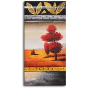 My Art Outlet 'Red Velvet Tree' Original Painting on Wrapped Canvas