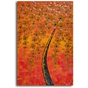 My Art Outlet 'Tree Drenched in Amber ' Original Painting on Wrapped Canvas