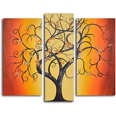My Art Outlet Thai Tree Dance 3 Piece Original Painting on Wrapped Canvas Set