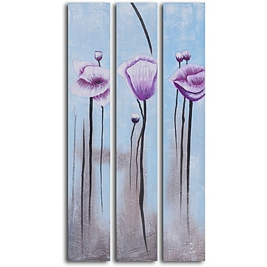 My Art Outlet 'Lavender Poppies in White' 3 Piece Original Painting on Wrapped Canvas Set