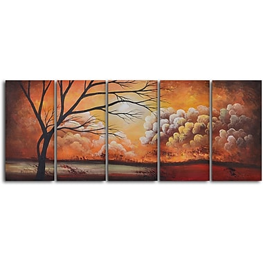 My Art Outlet 'Tree Silhouette by Thunder' 5 Piece Original Painting on Wrapped Canvas Set