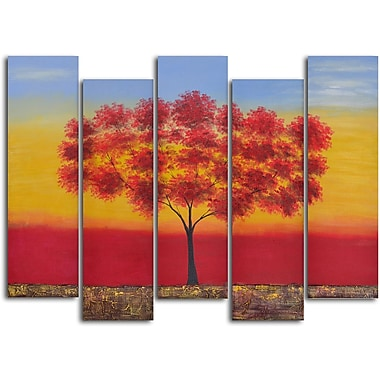 My Art Outlet 'Red Tree Quintet' 5 Piece Original Painting on Wrapped Canvas Set
