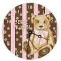 Lexington Studios 10'' Cocoa Cabana Teddy Wall Clock; Pink