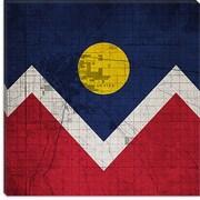 iCanvas Denver Flag, Map w/ Canvsas Print Graphic Art on Canvas; 12'' H x 12'' W x 1.5'' D