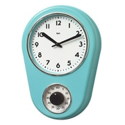 Bai Design 8.5'' Kitchen Timer Retro Modern Wall Clock; Turquoise