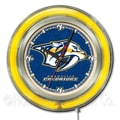 Holland Bar Stool NHL 15'' Double Neon Ring Logo Wall Clock; Nashville Predators
