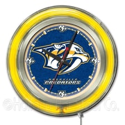Holland Bar Stool NHL 15'' Double Neon Ring Logo Wall Clock; Nashville Predators