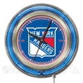 Holland Bar Stool NHL 15'' Double Neon Ring Logo Wall Clock; New York Rangers
