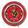 Holland Bar Stool NHL 15'' Double Neon Ring Logo Wall Clock; Ottawa Senators