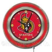 Holland Bar Stool NHL 15'' Double Neon Ring Logo Wall Clock; Ottawa Senators