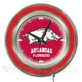 Holland Bar Stool NCAA 15'' Double Neon Ring Logo Wall Clock; Arkansas