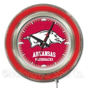 Holland Bar Stool NCAA 15'' Double Neon Ring Logo Wall Clock; Arkansas