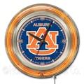 Holland Bar Stool NCAA 15'' Double Neon Ring Logo Wall Clock; Auburn