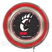 Holland Bar Stool NCAA 15'' Double Neon Ring Logo Wall Clock; Cincinnati