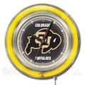 Holland Bar Stool NCAA 15'' Double Neon Ring Logo Wall Clock; Colorado