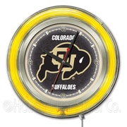 Holland Bar Stool NCAA 15'' Double Neon Ring Logo Wall Clock; Colorado