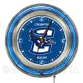 Holland Bar Stool NCAA 15'' Double Neon Ring Logo Wall Clock; Creighton