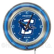 Holland Bar Stool NCAA 15'' Double Neon Ring Logo Wall Clock; Creighton