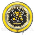 Holland Bar Stool NCAA 15'' Double Neon Ring Logo Wall Clock; Wichita State