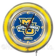 Holland Bar Stool NCAA 15'' Double Neon Ring Logo Wall Clock; Marquette