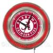 Holland Bar Stool NCAA 15'' Double Neon Ring Logo Wall Clock; Alabama