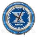 Holland Bar Stool NCAA 15'' Double Neon Ring Logo Wall Clock; Xavier