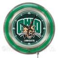 Holland Bar Stool NCAA 15'' Double Neon Ring Logo Wall Clock; Ohio University