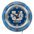Holland Bar Stool NCAA 15'' Double Neon Ring Logo Wall Clock; Utah State