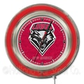 Holland Bar Stool NCAA 15'' Double Neon Ring Logo Wall Clock; New Mexico