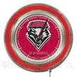 Holland Bar Stool NCAA 15'' Double Neon Ring Logo Wall Clock; New Mexico