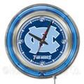 Holland Bar Stool NCAA 15'' Double Neon Ring Logo Wall Clock; North Carolina