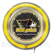 Holland Bar Stool NCAA 15'' Double Neon Ring Logo Wall Clock; Michigan Tech