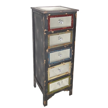 Cheungs Tall Wood Cabinet w/ Mirror Top and Mirrored Drawers