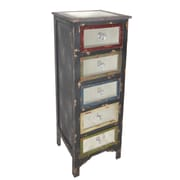 Cheungs Tall Wood Cabinet with Mirror Top and Mirrored Drawers