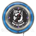 Holland Bar Stool US Armed Forces 15'' Double Neon Ring Logo Wall Clock; POW / MIA