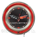 Holland Bar Stool Corvette - C6 15'' Double Neon Ring Logo Wall Clock; Black / Silver