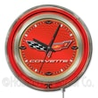 Holland Bar Stool Corvette - C6 15'' Double Neon Ring Logo Wall Clock; Red / Gold