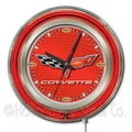 Holland Bar Stool Corvette - C6 15'' Double Neon Ring Logo Wall Clock; Red / Silver