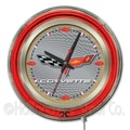 Holland Bar Stool Corvette - C6 15'' Double Neon Ring Logo Wall Clock; Silver / Gold