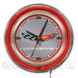 Holland Bar Stool Corvette - C6 15'' Double Neon Ring Logo Wall Clock; Silver / Red